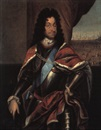 Manner Of Jacques (Jacob) d' Agar, Portraet af Christian V i rustning i baggrunden ryttere og by