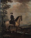 Attributed To David Morier, An esquestrian portrait of a country squire and his hound