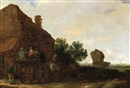 Maerten Fransz van der Hulst, A horse and wagon with peasants in front of a house