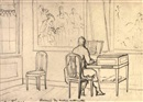 Christiaan Andriessen, A man playing a harpsichord in an interior