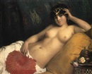 Giuseppe Costa, An odalisque with a red fan
