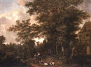 Cornelis Snellinck, A wooded landscape with a shepherd and shepherdess with their flock