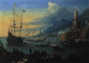 Attributed To Jean-Baptiste de LaRose, Vue de port imaginaire