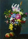 Alfrida Baadsgaard, Lilies, roses, pansies and fushcia in a vase on a ledge with apples