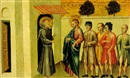 Giovanni di Paolo, A Franciscan saint meeting Saint James the Greater and pilgrims