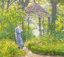 Guy Rose, Girl in a Wickford garden, New England