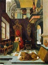 Attributed To Hendrick van Steenwyck the Elder, Der hl. Hieronymus in einem Interieur