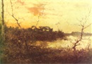 H. Aligny, Sunset over a wooded marsh with a peasant