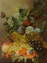 Jan van der Waarden, Plums, grapes, an orange and other fruit and flowers on a ledge