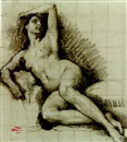 Henri Léopold Lévy, A reclining female nude, looking up to the right