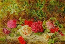 Charles Archer, Geraniums and roses on a mossy bank
