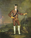 Scottish School (18), A harlequin portrait of Prince Charles Edward Stuart, a lanscape beyond