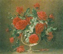 Bernard Allfree, Still life of red roses in a pedestal glass vase