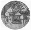 Monogrammist P V L, Three men playing at a game of dice