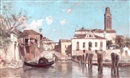 Juan Gimenez y Martin, A view of a Venetian side-canal with a figure on a gondola in the foreground