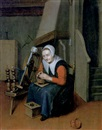 Johannes Dircksz Oudenrogge, An interior with an old woman seated at a spinning wheel warming her hands over a brazier