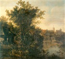 Cornelis Snellinck, A wooded river landscape on the edge of a town