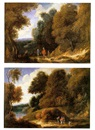 Philippe Van Dapels, A wooded landscape with three travellers an a dog on a path