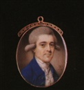 John Bogle, A gentleman with powdered wig wearing blue coat with silver coloured buttons