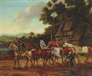 J. Freeman, Racehorses off for exercise outside an inn