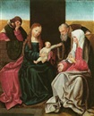Flemish School-Antwerp (15), The Holy Family with Saint Anne