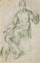 Giovanni Battista di Matteo Naldini, A seated boy, a subsidiary study of a drapery, and a faint study of a head, upper left