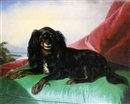 Ferdinand Krumholz, A King Charles spaniel on a green cushion, a landscape beyond