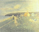 John C. Lawrence, Coastal landscape with a girl playing croquet in the foreground