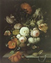 Isabelle Gabriel, A still life with roses, tulips and other flowers in an urm and a pocket watch on a ledge