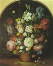 Isabelle Gabriel, A still life with tulips, daffodils, irises and other flowers in a baket