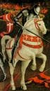 Follower Of Paolo Uccello, A knight in armor on a white horse