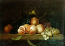 Attributed To Paul Liegeois, Still life of grapes and peaches resting on a ledge