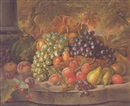 Charles Archer, Still life with a basket of fruit
