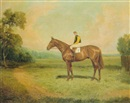 "Thomas Percy Earl, ""Prisipitation"" with jockey R. Beasley up"