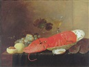 Pieter van Overschee, A still life of a lobster in a porcelain bowl beside a glass of wine, a glass bowl, grapes, peaches and oysters on a cloth on a table