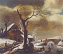 Attributed To Cornelis Snellinck, A winter landscape with skaters on a frozen waterway near a farmhouse