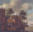 Attributed To Maximilian Blommaerdt, An extensive river landscape with peasants by a hamlet