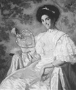 Philip Leslie Hale, Portrait of Jeanette Farren seated and holding a fan