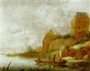 Maerten Fransz van der Hulst, A river landscape with fishermen in a rowboat on a river