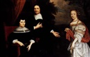 J. de Langhe, A portrait of a family with a couple wearing black costume and white collar and cuffs, and a young lady wearing a white satin dress with a red shawl