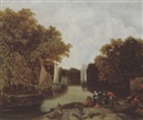 Cornelis Snellinck, A wooded river landscape with elegant figures on a river bank