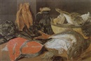 Alexander Adriaenssen, A larder still life of fish, crabs, artichokes, a pottery jug and bowl with a fish on a table