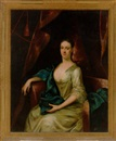 John Theodore Heins Sr., Portrait of Rebecca Branthwayt, née Newton, in a white satin dress and blue wrap, in a draped interior
