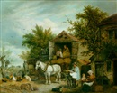 Elias Childe, Loading the hay wagon in a farmyard