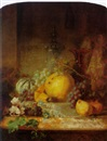 Martha Darley Mutrie, Still life with fruit and vine leaves