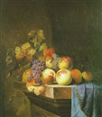 Attributed To Paul Liegeois, Nature morte aux pêches sur un entablement