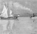Anna S. Fisher, Tugboat towing a sailboat down a river