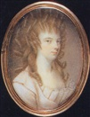 John Bogle, A lady, in pale pink dress with pleated bodice, her hair in elaborate curls