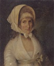 John Theodore Heins Sr., Portrait of Mrs. James Beevor in a white dress with a green sash and a white lace bonnet