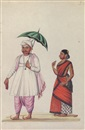 Indian School-Tanjore (19), Costume studies of Indian men with their wives in various occupations